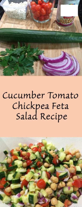 Cucumber Tomato Chickpea Feta Salad Recipe