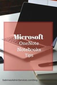 Microsoft OneNote Notebooks Tips | Sabrina's Admin Services #digital #notebook