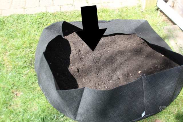 add garden soil to bag