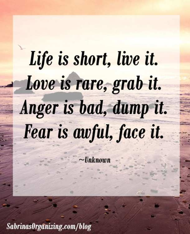 Life is short, live it. Love is rare, grab it.