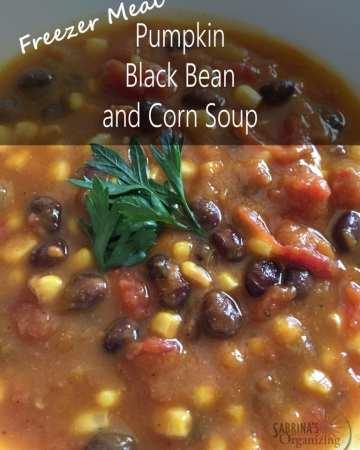 Pumpkin Black Bean Corn Soup Freezer Meal