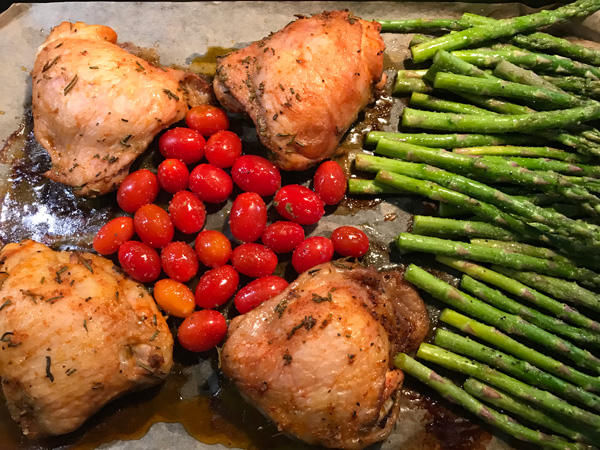 Chicken Asparagus and Tomatoes Sheet Pan Dinner Recipe