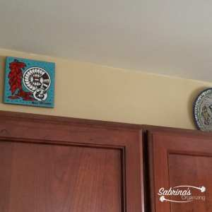 plates over the cabinets