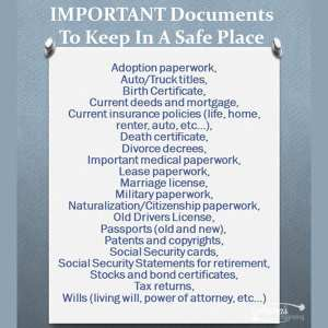 Personal Important Documents to Keep
