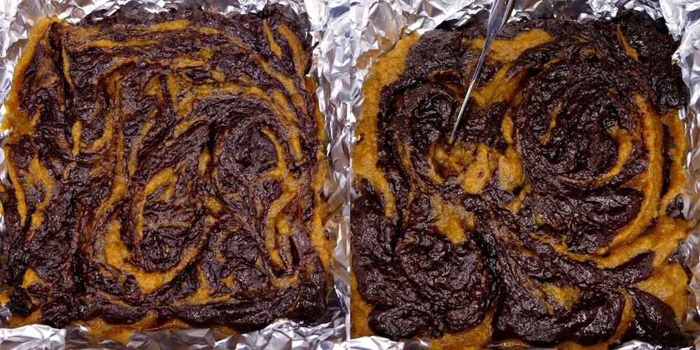 """A two picture collage of homemade fudgy Paleo pumpkin fudge brownie batter in a foil-lined 8x8"""" dish being swirled by a butter knife"""