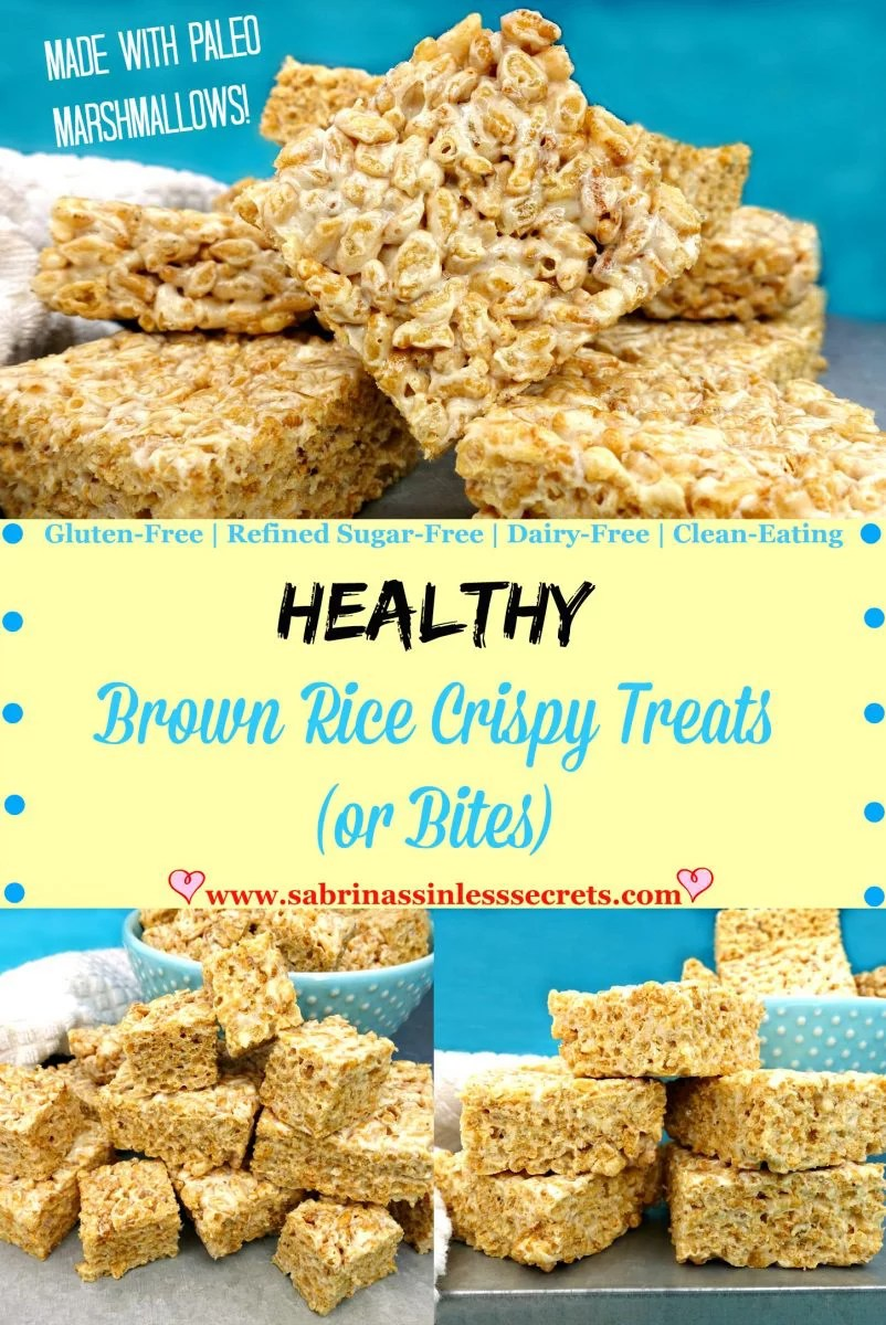 Healthy Brown Rice Crispy Treats (or Bites) made with Paleo marshmallows
