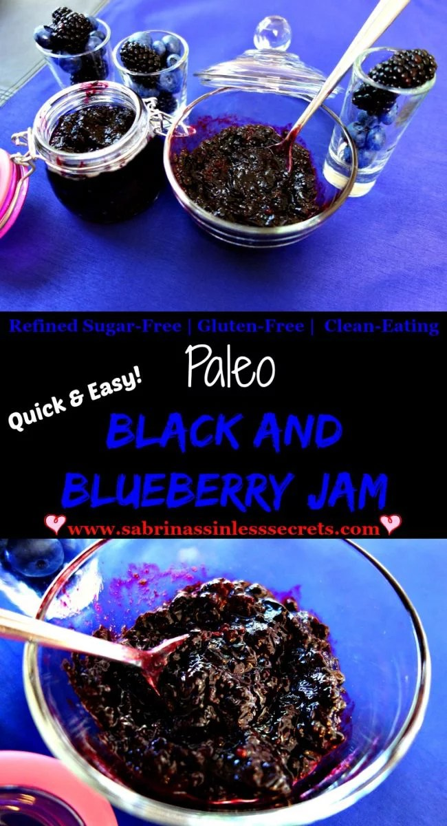 Paleo Black and Blueberry Jam that's quick and easy to prepare and also refined sugar-free, gluten-free, dairy-free, and clean-eating