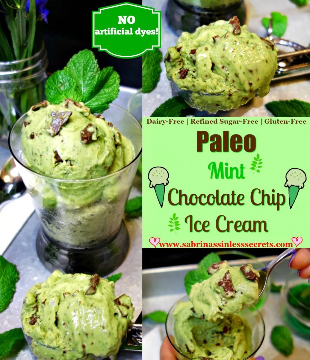 Homemade Paleo Mint Chocolate Chip Ice Cream that is also dairy-free, gluten-free, refined sugar-free, and clean-eating—and contains no artificial dyes, ingredients, while including the superfoods, spinach and avocado.
