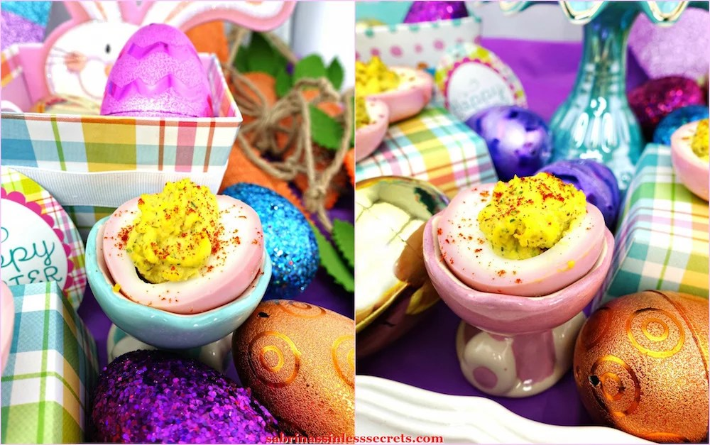 Pink & Paleo Deviled Eggs in egg holders with sparkly Easter eggs, baskets, and boxes around them