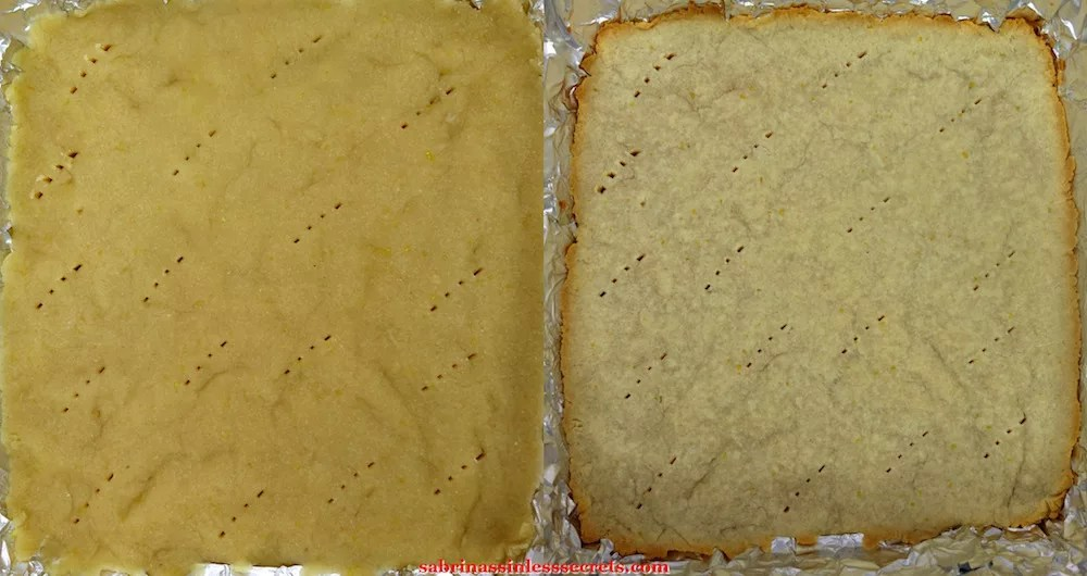 """The pre-baked crust for Paleo Lemon Bars with a Shortbread Crust and the partial baked version in a 8""""x8"""" aluminum foil lined baking dish"""
