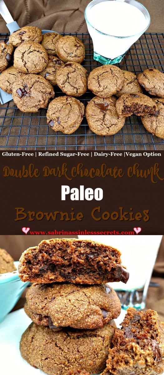 These Double Dark Chocolate Chunk Paleo Brownie Cookies are lightly crisp on the outside and fluffy and rich on the insides, like a cakey brownie! They're so easy to make and taste even better than regular double chocolate cookies. Plus, they're gluten-free, dairy-free, refined sugar-free, and have a vegan option, which makes them the perfect sinless dessert or snack!
