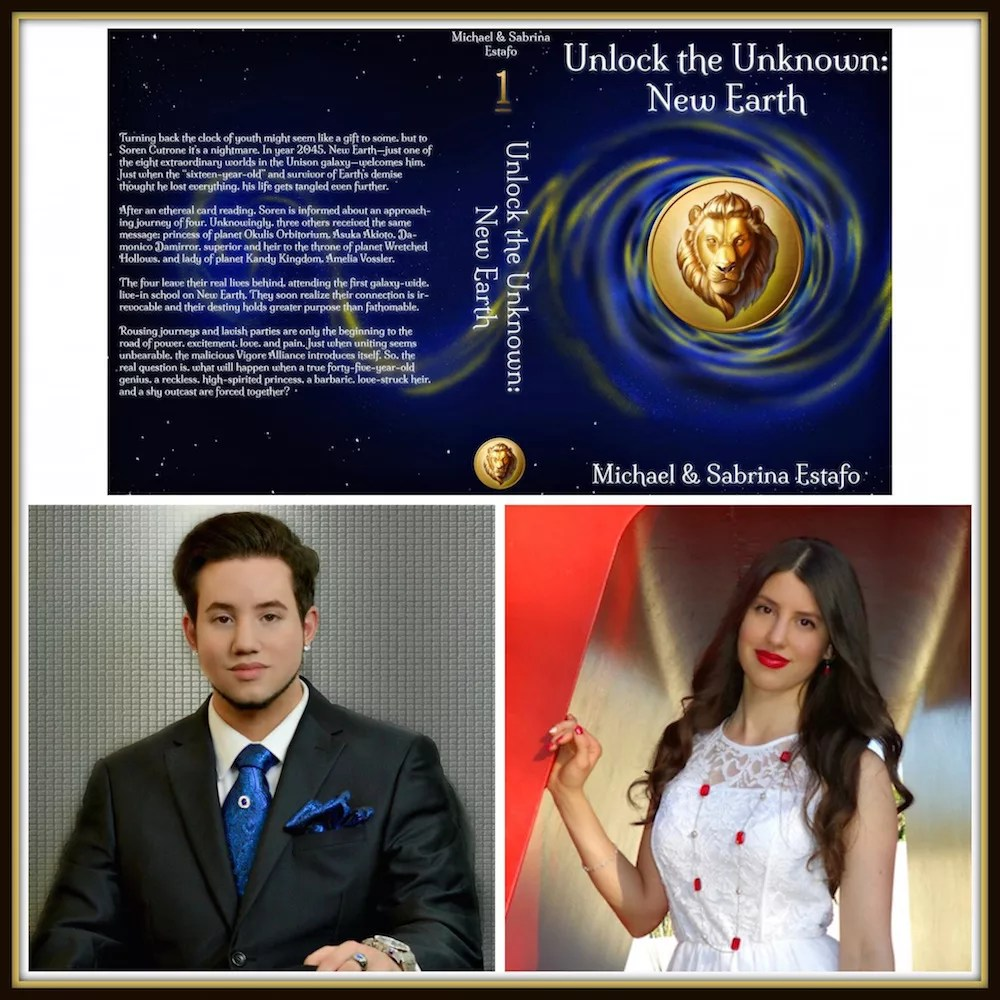 The full cover of Unlock the Unknown: New Earth YA Fantasy/Sci novel with the author pictures below