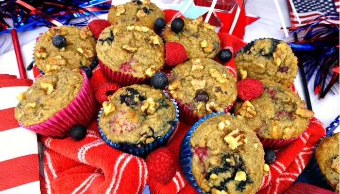 Paleo Blueberry-Raspberry Banana Walnut Muffins