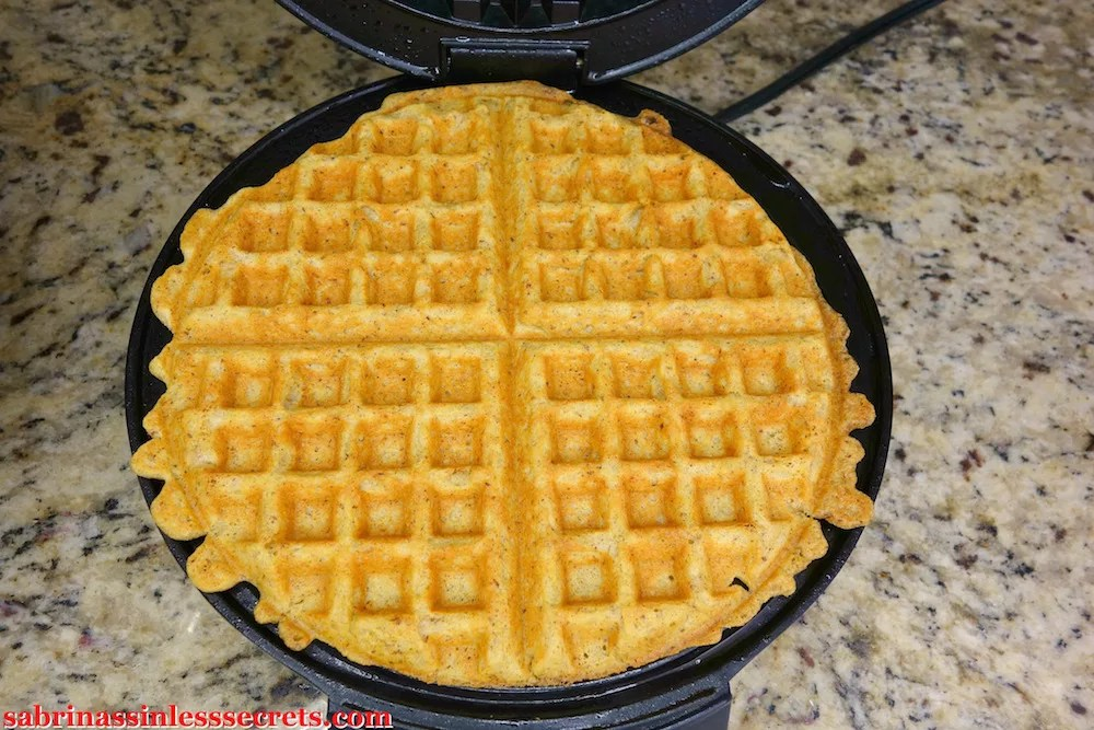 Paleo pumpkin waffles in the waffle iron