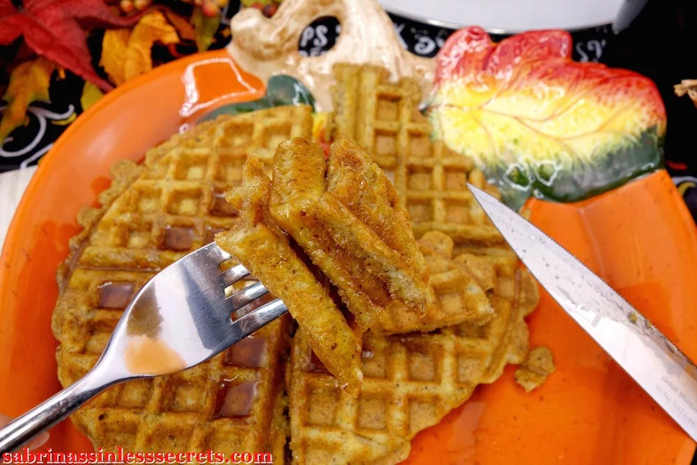 Fork with three-tiered paleo pumpkin waffle bite