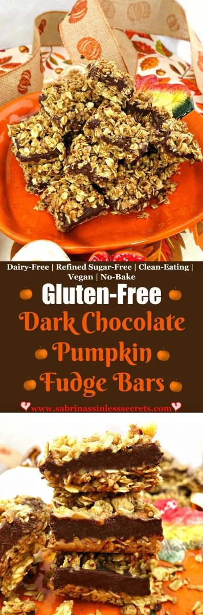 These Gluten-Free Dark Chocolate Pumpkin Fudge Bars are an easy NO-BAKE dessert or snack for the holiday season! The base and top are comprised of an oat toasted maple syrup nut concoction, sandwiching in the silky dark chocolate pumpkin fudge! These bars are too good to be true, especially because they're gluten-free, vegan, dairy-free, refined sugar-free, and clean-eating!