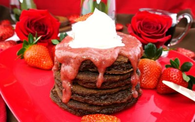 Paleo Chocolate Pancakes with Strawberry Sauce and Whipped Cream