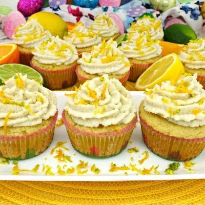 Triple Citrus Paleo Cupcakes with Coconut Citrus Frosting