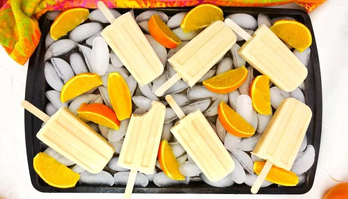 Paleo and Vegan Orange Creamsicle Popsicles