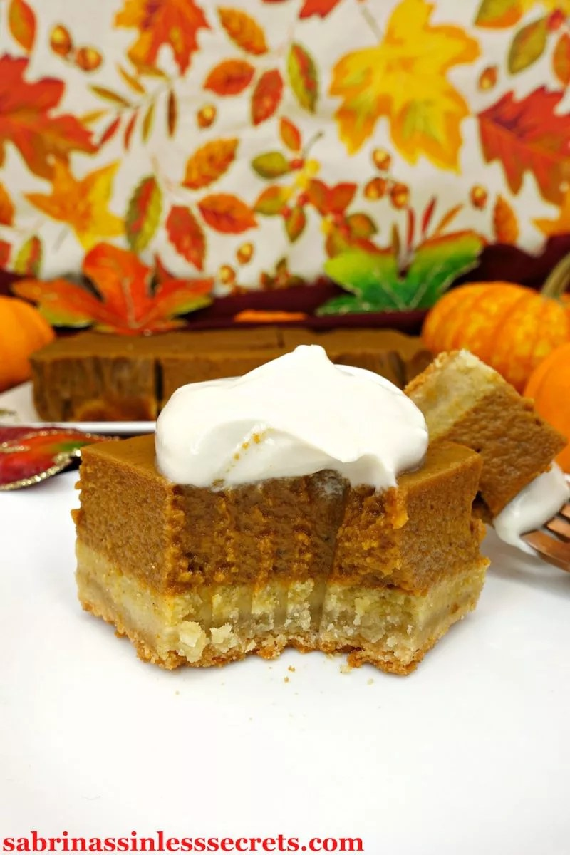 If you love pumpkin pie than you'll go crazy for these Paleo Pumpkin Pie Bars! They're like the pumpkin pie you know and love, but better! These yummy fall treats are so easy to make and are great to bring to gatherings or to keep all for yourself. They're Paleo, gluten-free, grain-free, refined sugar-free, dairy-free, and clean-eating!
