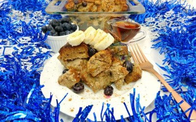 Banana Blueberry Paleo French Toast Casserole