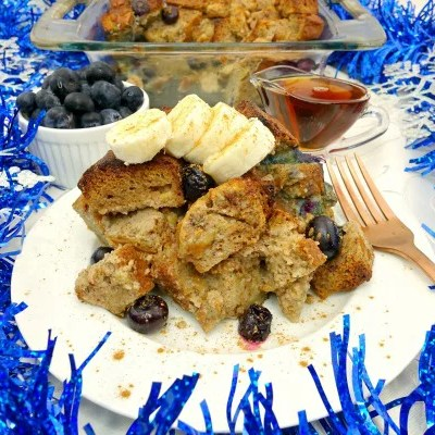 A recipe this easy and delicious is perfect for a special breakfast! This Banana Blueberry Paleo French Toast contains the sweet flavors of French toast with the added yumminess of banana and blueberries, creating one addicting breakfast casserole! It's completely guilt-free, Paleo, gluten-free, dairy-free, refined sugar-free, and clean-eating!