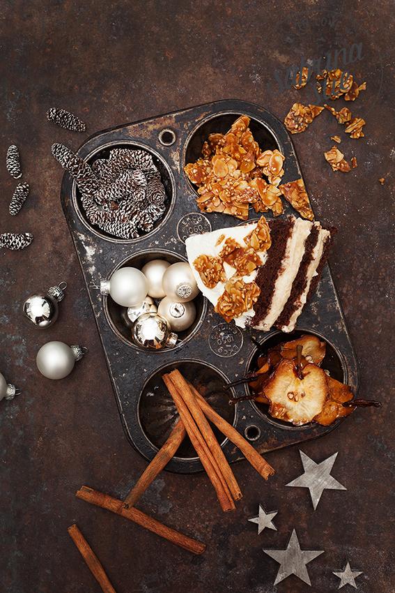 Birnen Kokos Torte-Naked Cake