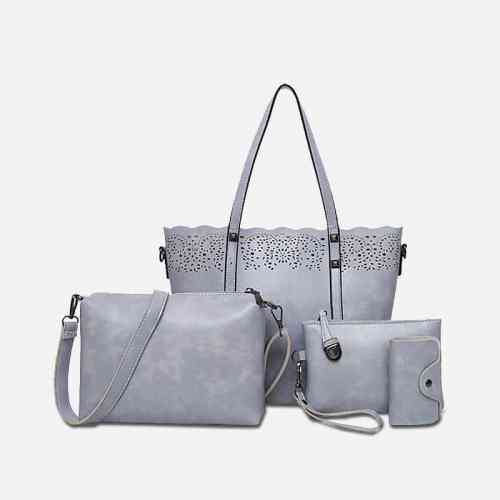 Set de 4 sacs en cuir gris pour femme : sac à main bandoulière (sac cabas), sac bandoulière, pochette, porte-cartes.