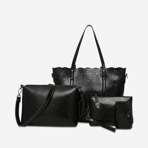 Set de 4 sacs en cuir noir pour femme : sac à main bandoulière (sac cabas), sac bandoulière, pochette, porte-cartes.