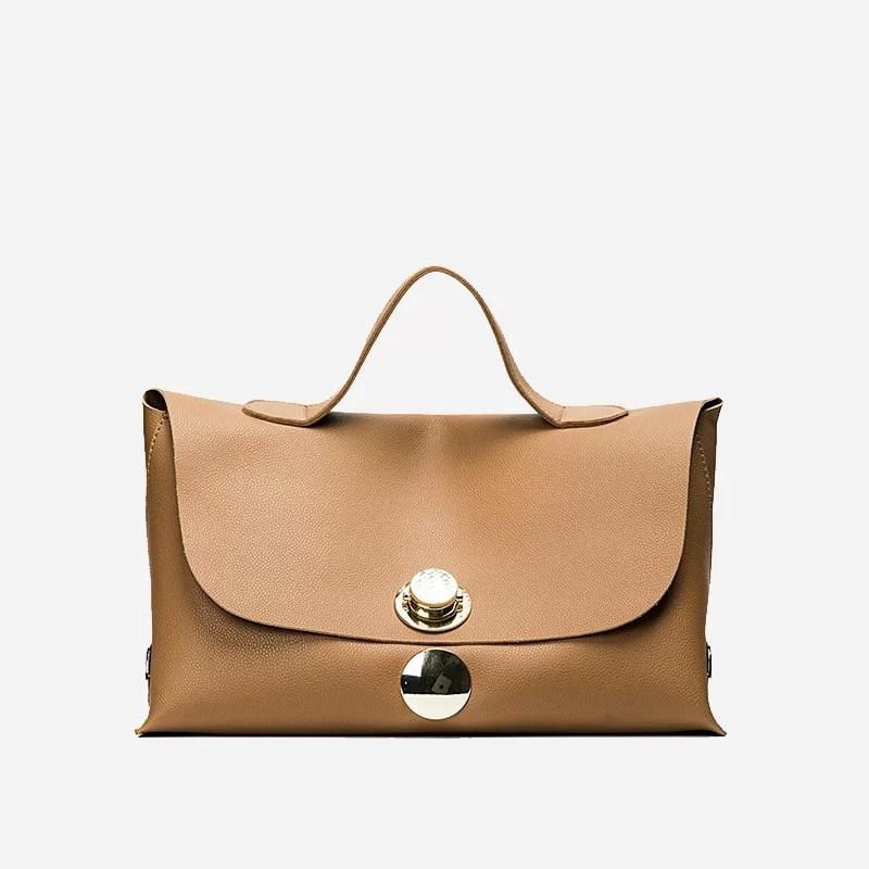 Sac à main besace cuir marron et brun pour femme avec bandoulière épaule amovible. Niubibag.