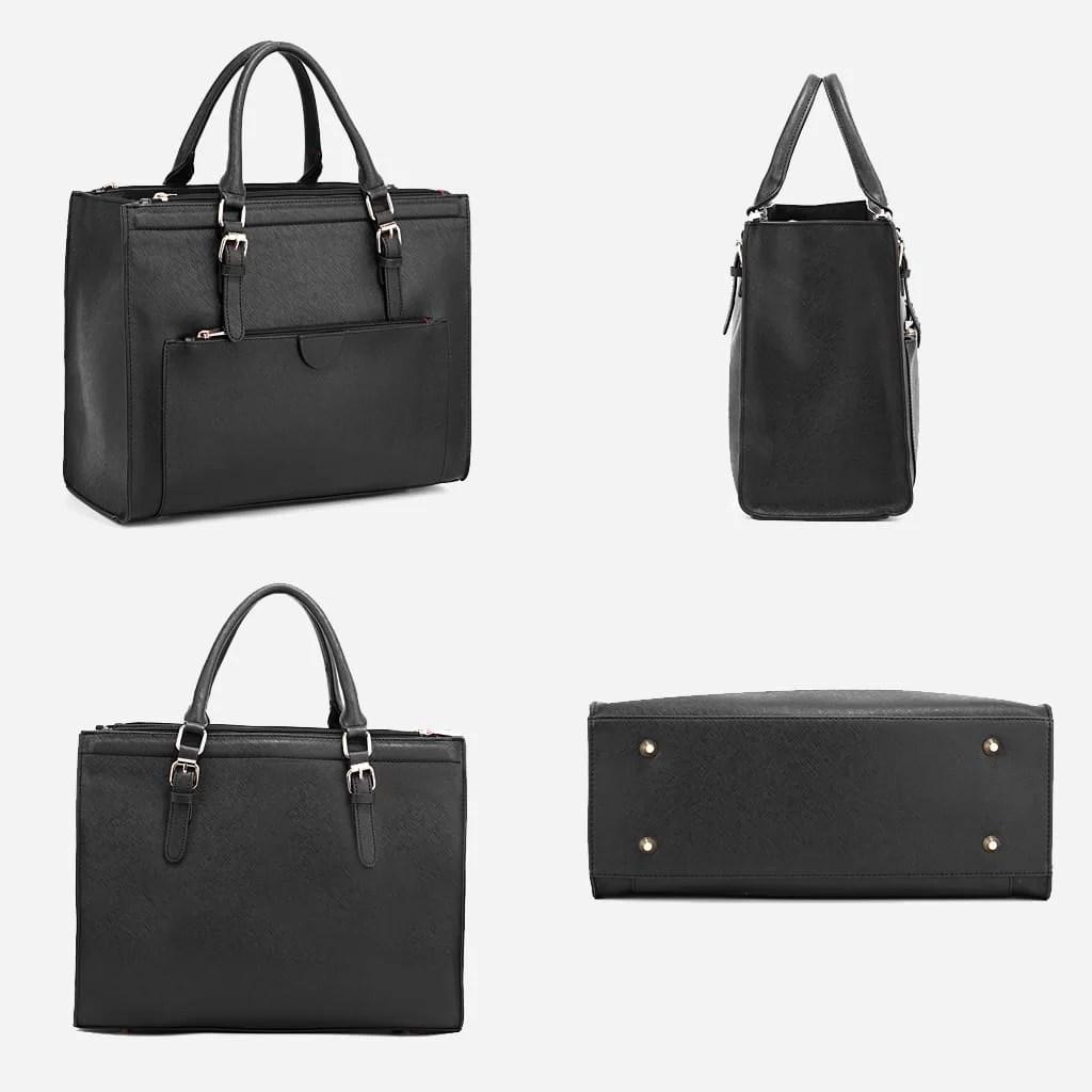 Détails du sac à main cabas pour femme en cuir noir avec bandoulière.