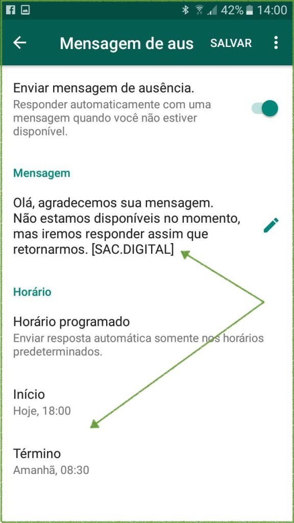 mensagem de ausencia do whatsapp business