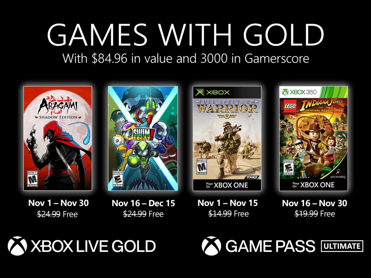 Xbox Games with Gold for November 2020