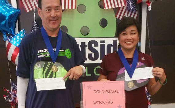 Stan Fukui and Kathy Yamamoto take home the gold in 3.5 Mixed Doubles at this years Courtside Firecracker Frenzy Round Robin Tournament in Rocklin.
