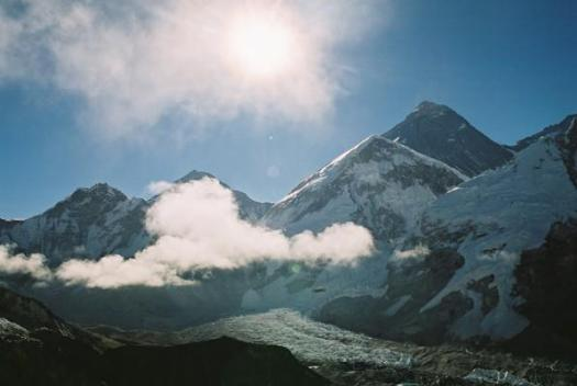 View from Kala Patthar - Everest is the black peak in the top right of the photo