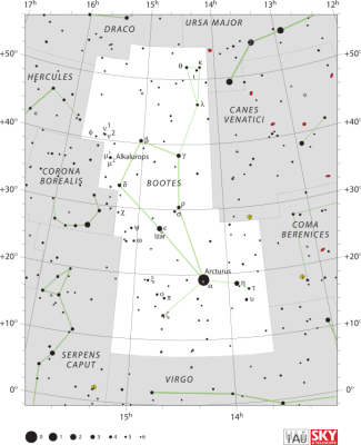 """Boötes IAU"" by IAU and Sky & Telescope magazine (Roger Sinnott & Rick Fienberg) - [1]. Licensed under CC BY 3.0 via Commons - https://commons.wikimedia.org/wiki/File:Bo%C3%B6tes_IAU.svg#/media/File:Bo%C3%B6tes_IAU.svg"