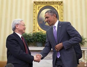 Nguyễn phú trọng thăm Mỹ, trao đổi với obama, tại nhà trắng