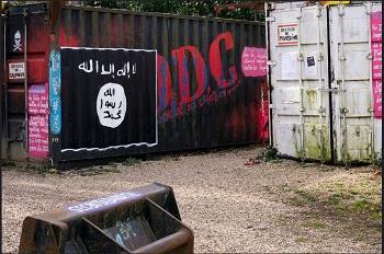 Dấu hiệu tròn, có chữ ở trên và bên trong, là con dấu của, Nhà Nước Hồi Giáo, ISIL