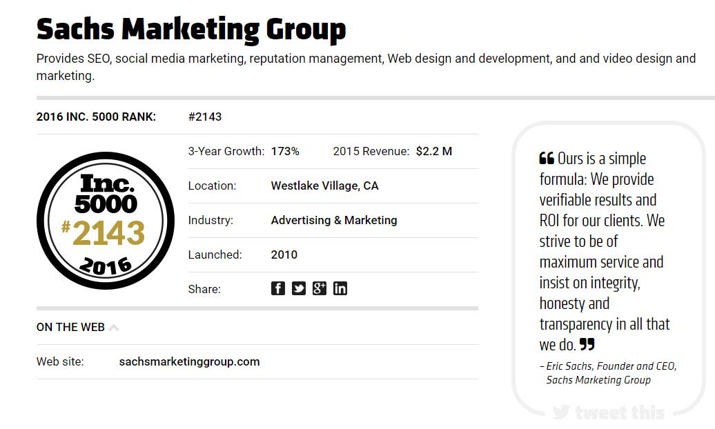 Inc 5000 List | Sachs Marketing Group