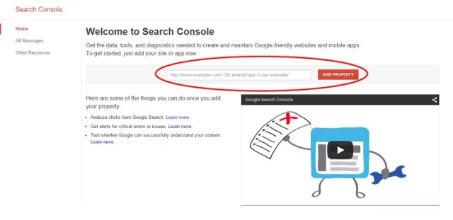 welcome to search console