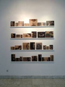 """Dejan Atanackovic, German Lessons 2010-2014, video works: Kennen Sie Ihre Familie?, 14'30"""" , Imre, 11'29"""", Untitled, (loop), 30 photo objects (inkjet prints on wood, total size aprox.150x150)"""