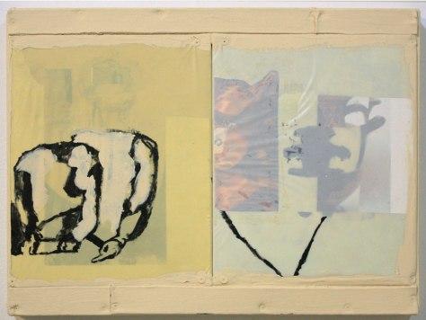 "Ryan Ward, ""Untitled"", acrylic, collage on plastic, 13x17"""