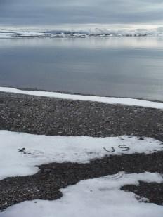 "Keri Rosebraugh, ""Precious,"" Installation 2015, Various Rocks in Snow, Ymerbukta, Spitsbergen, Norway"