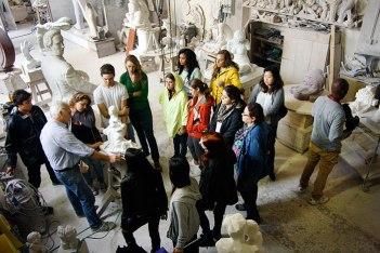 SACI sculpture students visiting the carving studios of Carrara