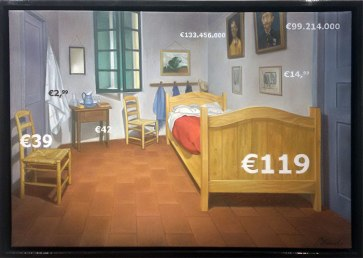 """Gregory Blanche, """"Bed at Arles €119,"""" oil on canvas, 35 x 50 cm, 2015"""