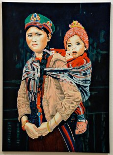 """Lisa A. Fracica, """"Tamang Mother and Child,"""" oil, gold, silver leaf on canvas, 2015-2016"""