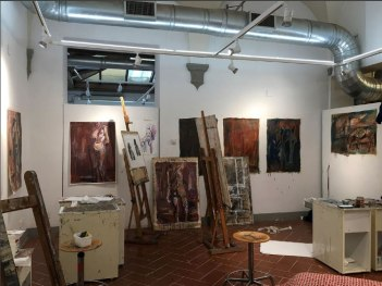Emelyn Shea's studio space at SACI