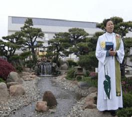 Pastor in garden