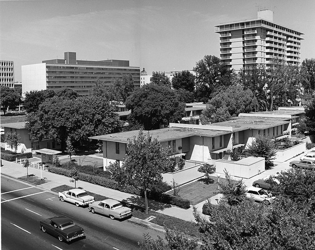 Circa 1964 photo of Capitol Towers and Garden Apartments by Sirlin Studios