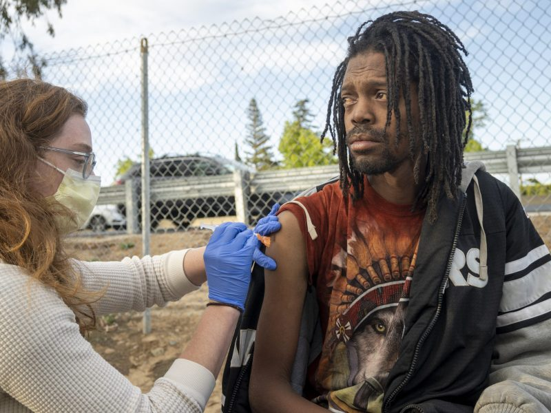 Javon Coleman was among those who took advantage of the opportunity. Colman is pictured receiving a dose of the vaccine.